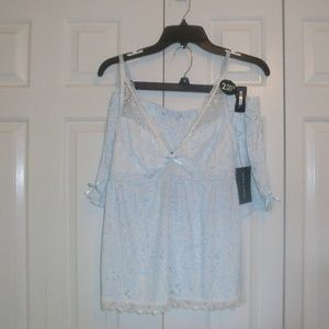 ❤️ Laura Ashley Cami Shorty Set Blue White L